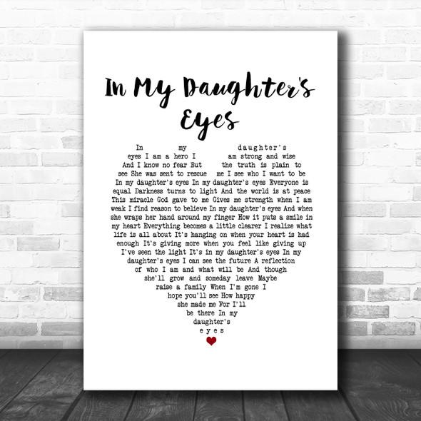 Martina McBride In My Daughter's Eyes White Heart Song Lyric Print