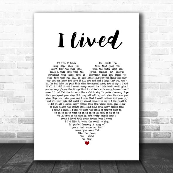 OneRepublic I Lived White Heart Song Lyric Print