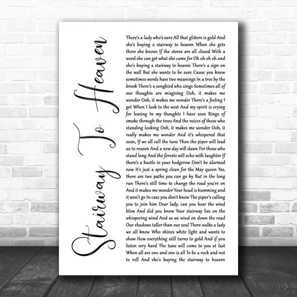 Led Zeppelin Stairway To Heaven White Script Song Lyric Print
