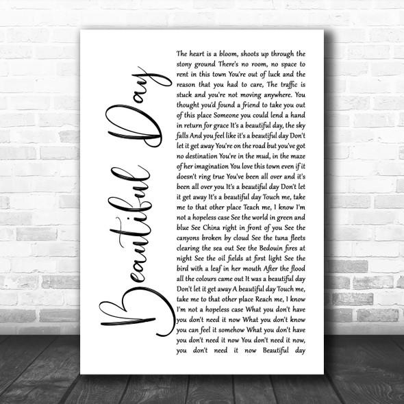 U2 Beautiful Day White Script Song Lyric Print