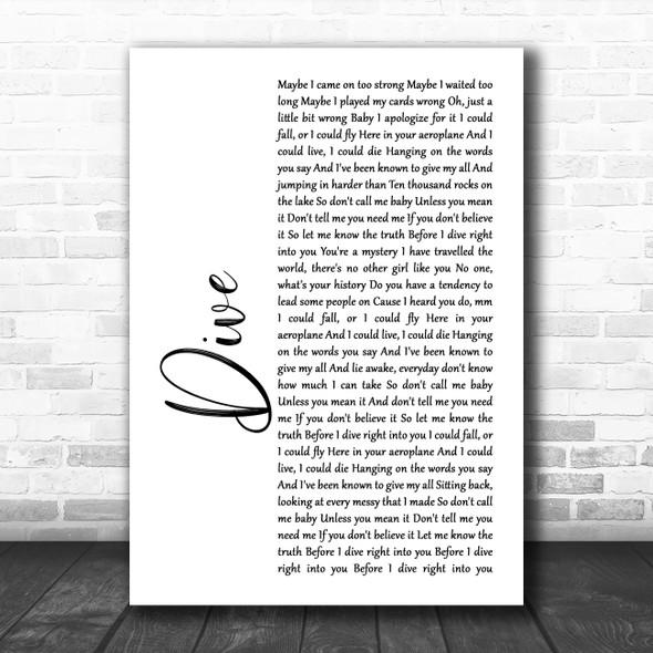 Ed Sheeran Dive White Script Song Lyric Print