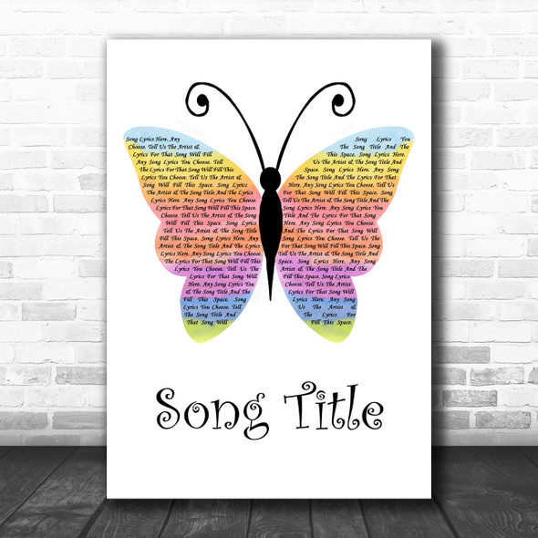 Any Song Custom Rainbow Butterfly Personalized Lyrics Print
