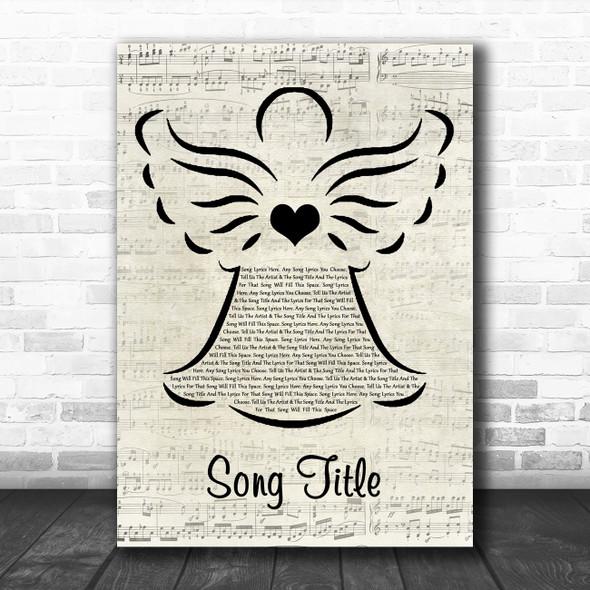 Any Song Custom Music Script Angel Personalized Lyrics Print