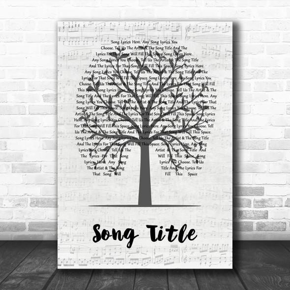 Any Song Custom Music Script Tree Personalized Lyrics Print