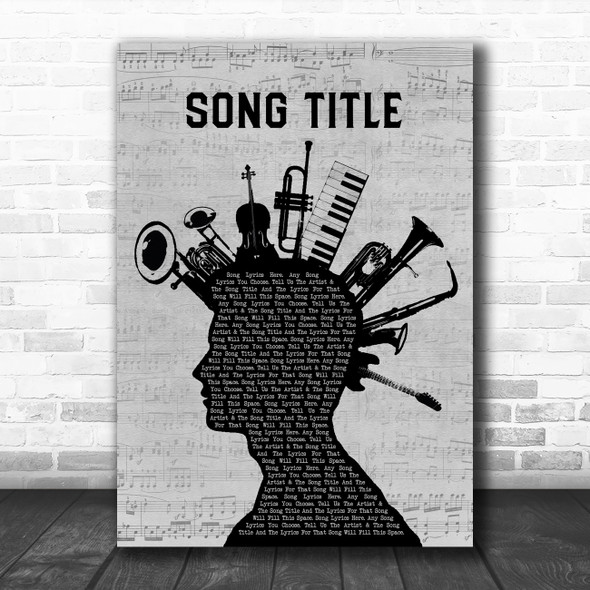 Any Song Custom Musical Instrument Mohawk Personalized Lyrics Print