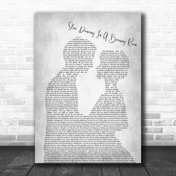 John Mayer Slow Dancing In A Burning Room Man Lady Bride Groom Wedding Grey Song Lyric Quote Music Print
