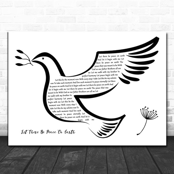 Vince Gill Let There Be Peace On Earth Black & White Dove Bird Song Lyric Quote Music Print