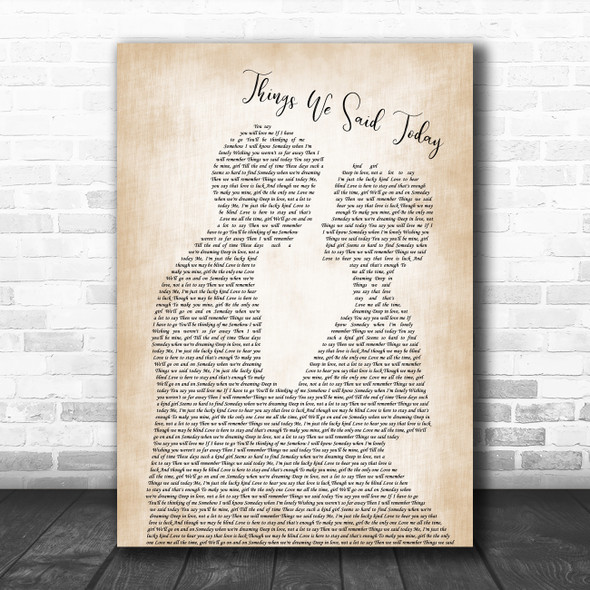 The Beatles Things We Said Today Man Lady Bride Groom Wedding Song Lyric Quote Music Print