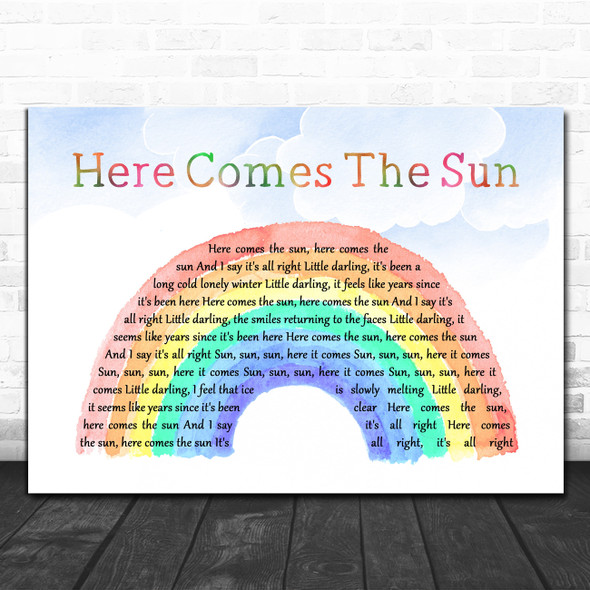 The Beatles Here Comes The Sun Watercolour Rainbow & Clouds Song Lyric Quote Music Print