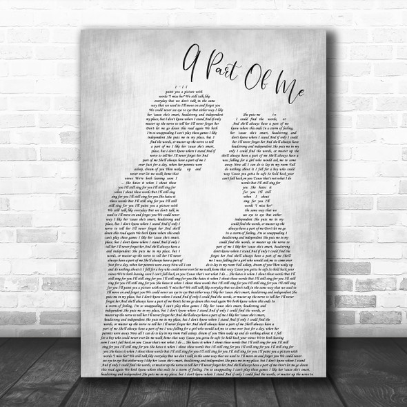 Neck Deep A Part Of Me Man Lady Bride Groom Wedding Grey Song Lyric Quote Music Print