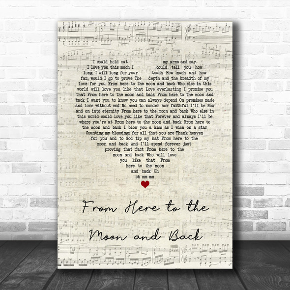 Willie Nelson ft. Dolly Parton From Here to the Moon and Back Script Heart Song Lyric Quote Music Print