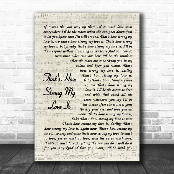 Otis Redding That's How Strong My Love Is Vintage Script Song Lyric Quote Music Print