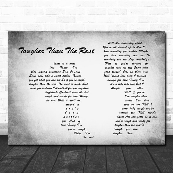 Bruce Springsteen Tougher Than The Rest Man Lady Couple Grey Song Lyric Quote Music Print