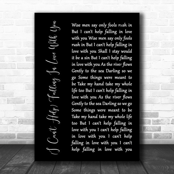 UB40 (I Can't Help) Falling In Love With You Black Script Song Lyric Music Wall Art Print