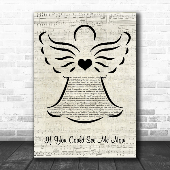 Truth If You Could See Me Now Music Script Angel Song Lyric Quote Music Print
