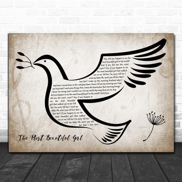 Charlie Rich The Most Beautiful Girl Vintage Dove Bird Song Lyric Quote Music Print