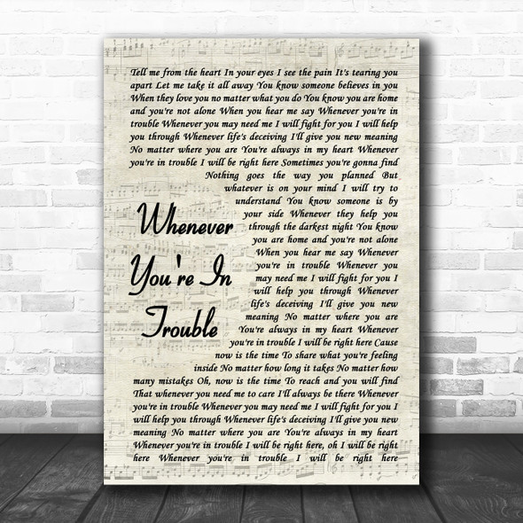 Donny Osmond Whenever You're In Trouble Vintage Script Song Lyric Quote Music Print