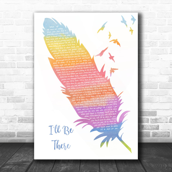 Jess Glynne I'll Be There Watercolour Feather & Birds Song Lyric Quote Music Print