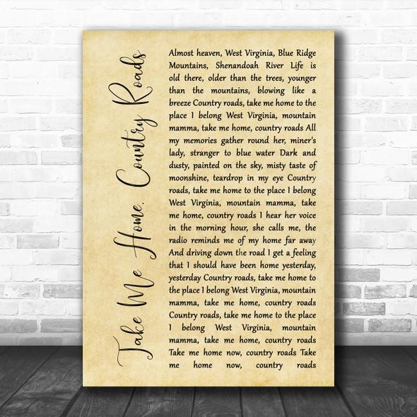 John Denver Take Me Home, Country Roads Rustic Script Song Lyric Quote Music Print
