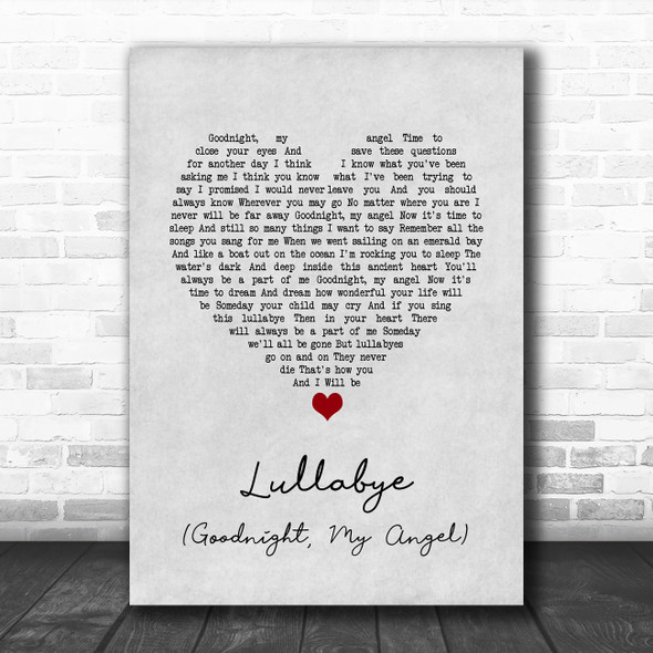 Billy Joel Lullabye (Goodnight, My Angel) Grey Heart Song Lyric Quote Music Print