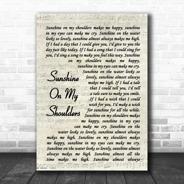 John Denver Sunshine On My Shoulders Vintage Script Song Lyric Quote Music Print