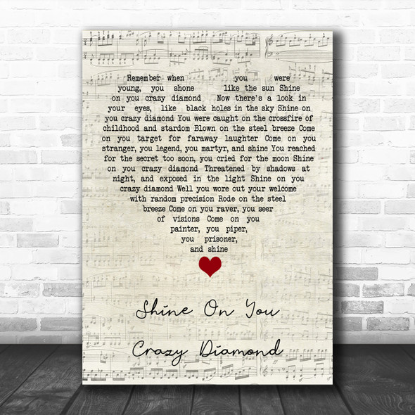 Pink Floyd Shine On You Crazy Diamond Script Heart Song Lyric Quote Music Print