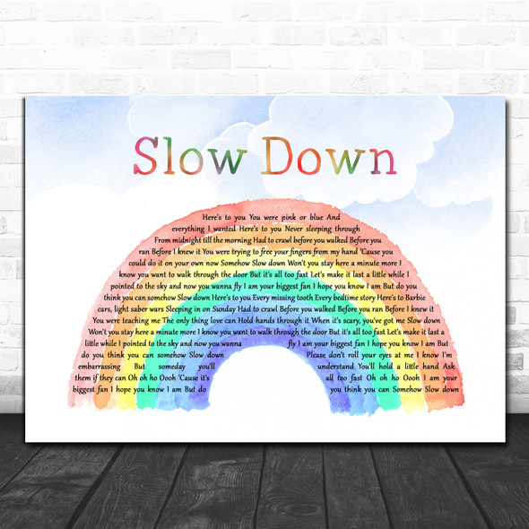 Nichole Nordeman Slow Down Watercolour Rainbow & Clouds Song Lyric Quote Music Print