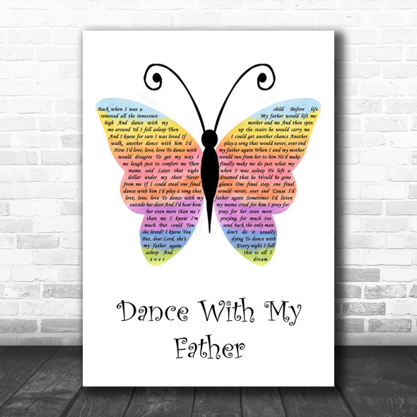 Luther Vandross Dance With My Father Rainbow Butterfly Song Lyric Quote Music Print