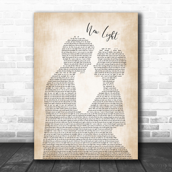 John Mayer New Light Man Lady Bride Groom Wedding Song Lyric Quote Music Print