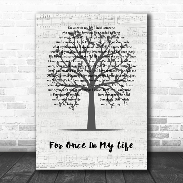 Stevie Wonder For Once In My Life Music Script Tree Song Lyric Quote Music Print