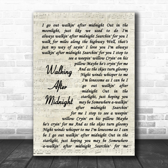 Patsy Cline Walking After Midnight Vintage Script Song Lyric Quote Music Print
