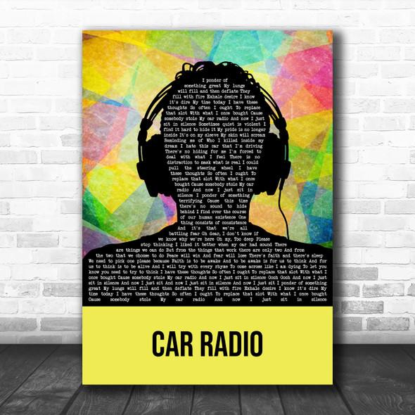Twenty One Pilots Car Radio Multicolour Man Headphones Song Lyric Quote Music Print