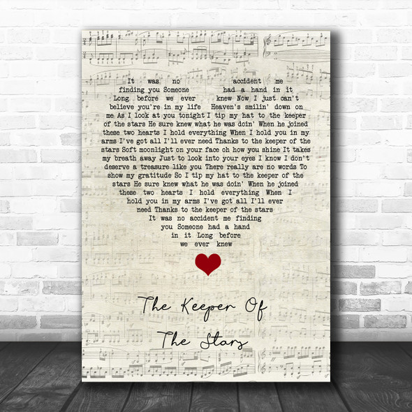 Tracy Byrd The Keeper Of The Stars Script Heart Song Lyric Quote Music Print