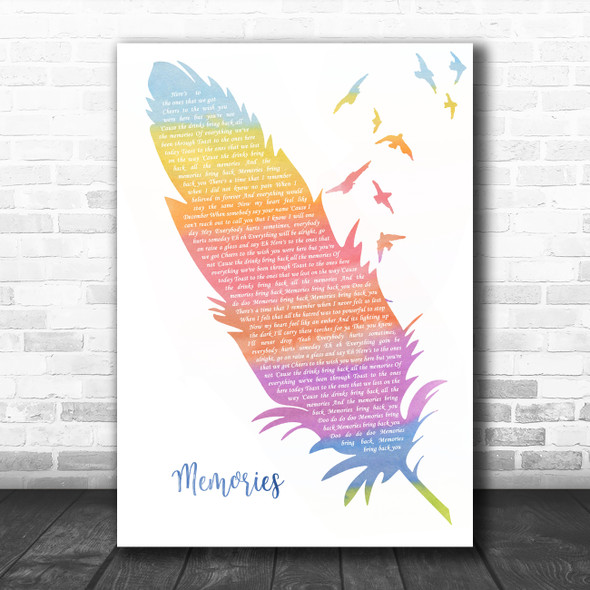 Maroon 5 Memories Watercolour Feather & Birds Song Lyric Quote Music Print