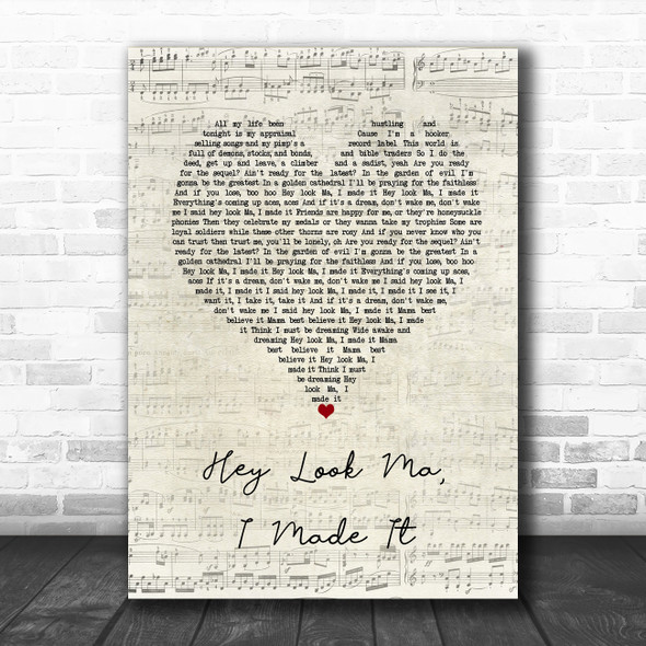 Panic! At The Disco Hey Look Ma, I Made It Script Heart Song Lyric Quote Music Print