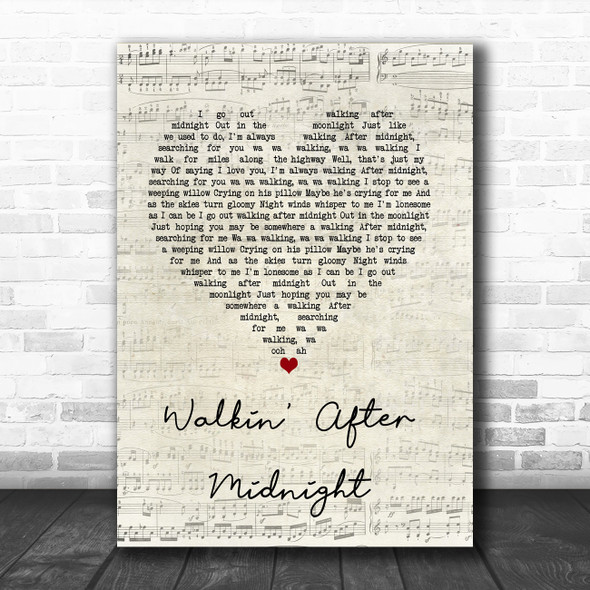 Patsy Cline Walkin' After Midnight Script Heart Song Lyric Quote Music Print