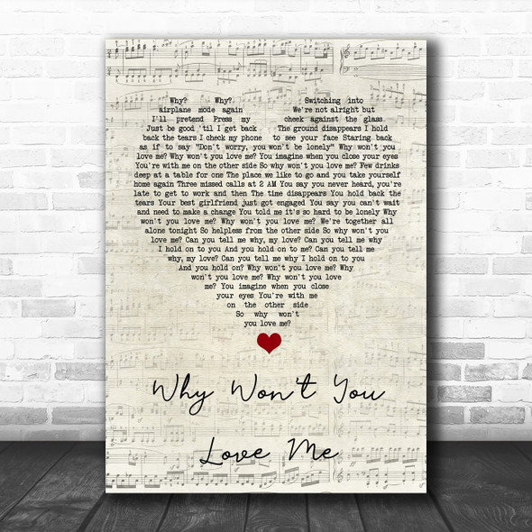 5 Seconds Of Summer Why Won't You Love Me Script Heart Song Lyric Quote Music Print