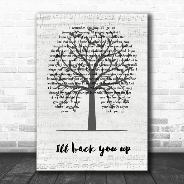 Dave Matthews band I'll back you up Music Script Tree Song Lyric Quote Music Print