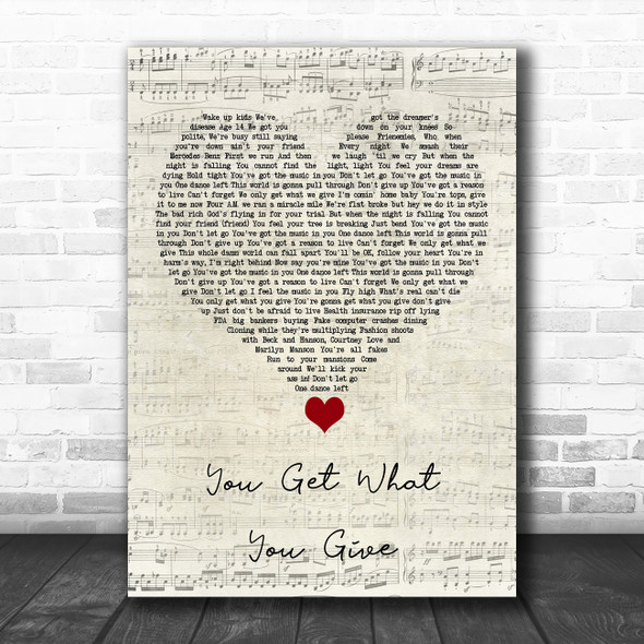 New Radicals You Get What You Give Script Heart Song Lyric Quote Music Print