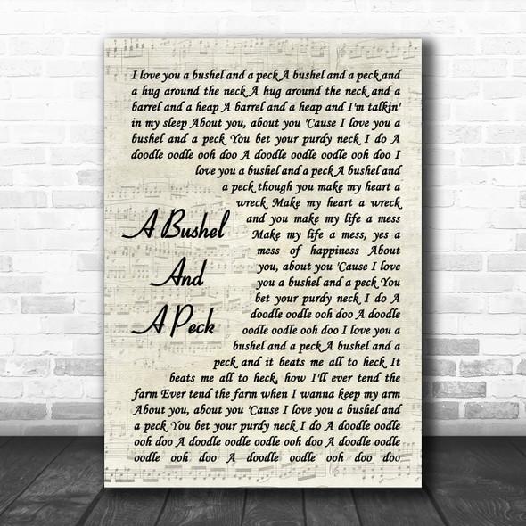 Doris Day A Bushel And A Peck Vintage Script Song Lyric Quote Music Print