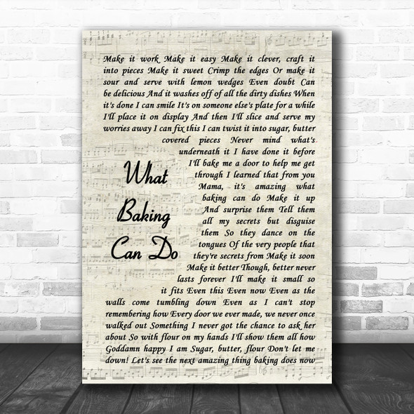 Original Broadway Cast of Waitress What Baking Can Do Vintage Script Song Lyric Quote Music Print