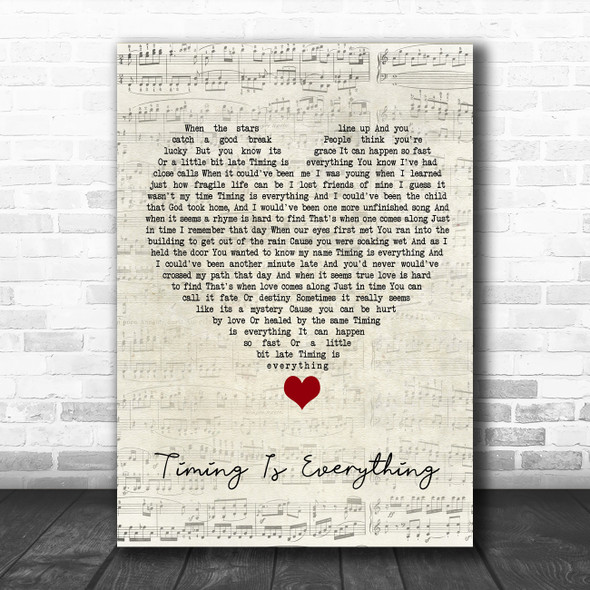 Garrett Hedlund Timing Is Everything Script Heart Song Lyric Quote Music Print