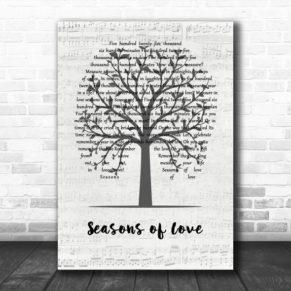 Jonathan Larson Seasons of Love Music Script Tree Song Lyric Quote Music Print