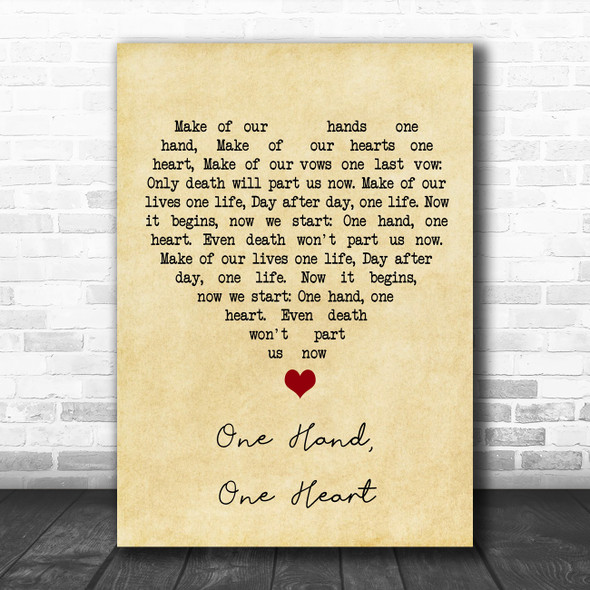 West Side Story One Hand, One Heart Vintage Heart Song Lyric Quote Music Print