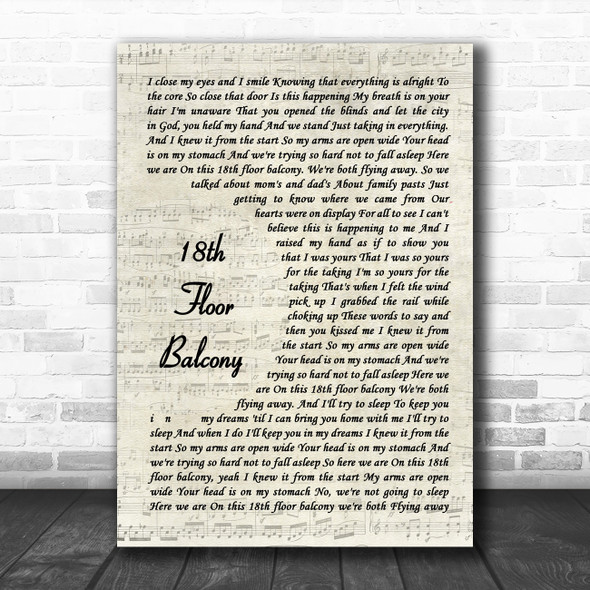 Blue October 18th Floor Balcony Vintage Script Song Lyric Quote Music Print