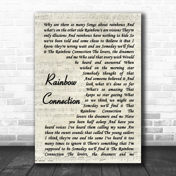 The Muppets Rainbow Connection Vintage Script Song Lyric Quote Music Print
