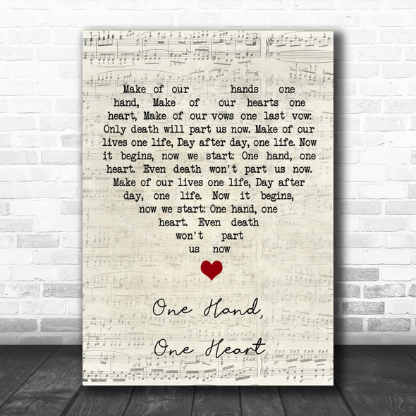 West Side Story One Hand, One Heart Script Heart Song Lyric Quote Music Print