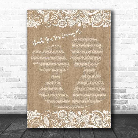 Bon Jovi Thank You For Loving Me Burlap & Lace Song Lyric Music Wall Art Print