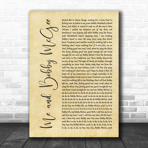 Janis Joplin Me and Bobby McGee Rustic Script Song Lyric Quote Music Print