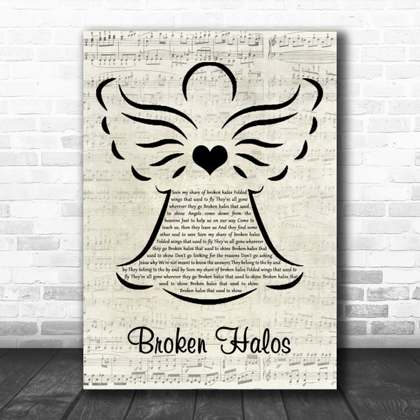 Chris Stapleton Broken Halos Music Script Angel Song Lyric Quote Music Print